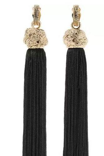 Earrings Black Tassel Vacation Party Chandelier Big Dangle Drop Gift Jewelry Accessories Women