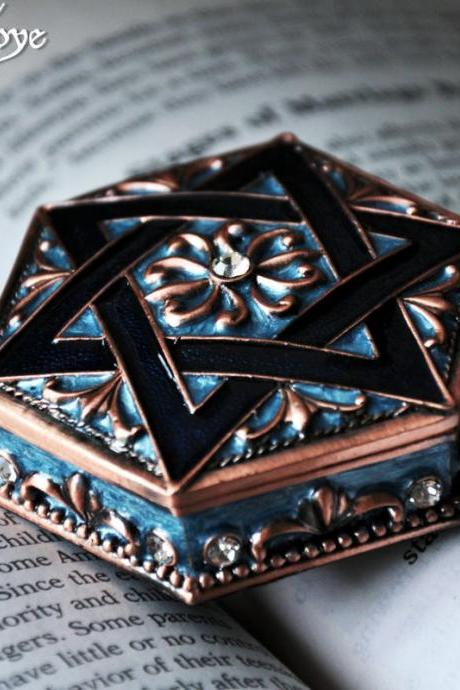Star of David Zodiac Jewelry Storage Cabinet Box Zinc Alloy Constellation Gift Accessories Women