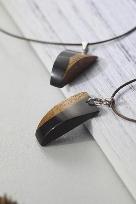Ebony Cam Wood Necklace Geometric Charm Pendant Gift Jewelry Accessories Women